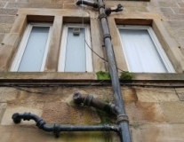 Penetrating damp due to pipe defect
